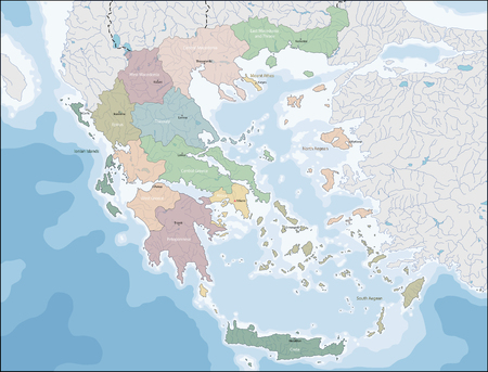 Map of Greece in colored illustration.