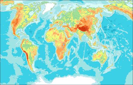 Physical World Map illustration Vettoriali