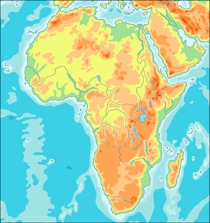 Physical Africa Map Illustration