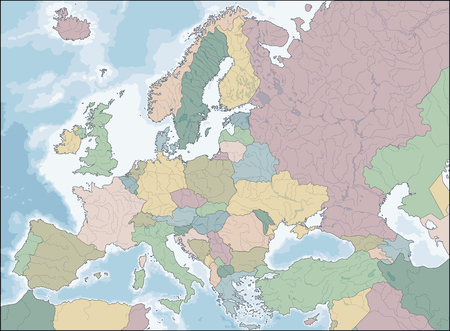 Map of Europe vector illustration.