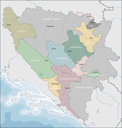 Map of Bosnia and Herzegovina.