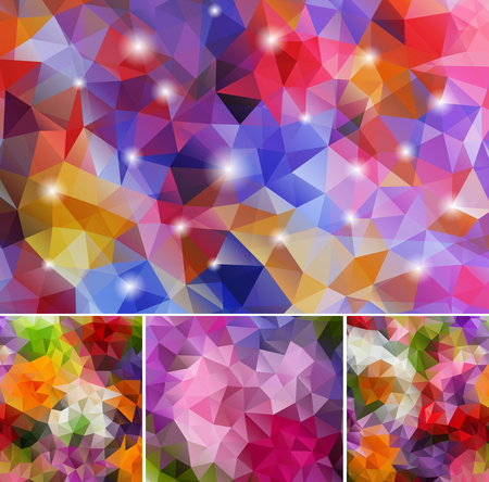 Set Polygonal Backgrounds Vector illustration.