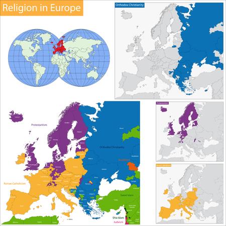 Predominant religious in Europe Illustration