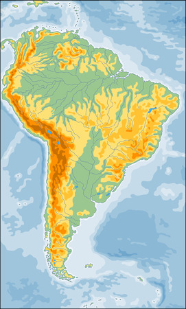 Highly detailed physical map of the South America continent Vetores