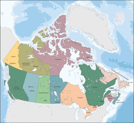 Carte d'illustration vectorielle du Canada
