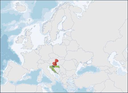 Republic of Croatia location on Europe map