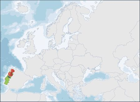 Portuguese Republic location on Europe map Ilustrace
