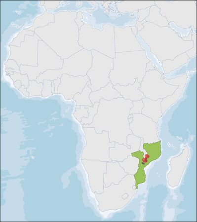 Republic of Mozambique location on Africa map
