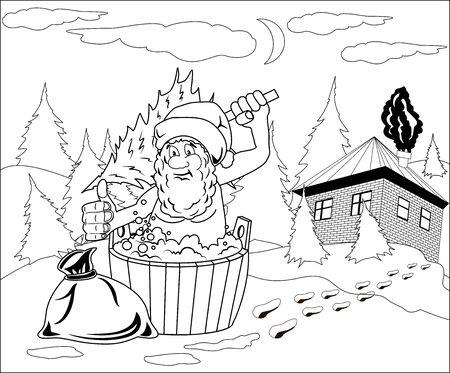 Santa Claus takes a bath