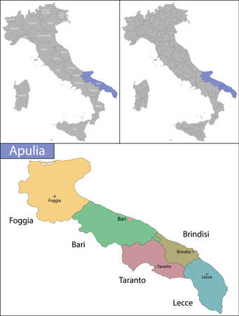 Illustration of Apulia is a region in Southern Italy Ilustrace