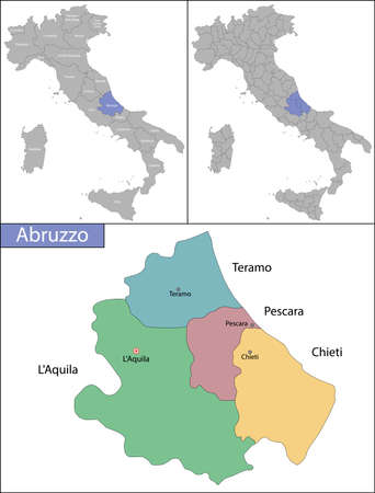 Illustration of Abruzzo is a region in Southern Italy Ilustrace