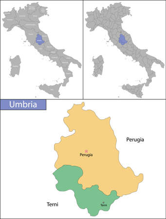 Illustration of Umbria is a region in central Italy Ilustrace