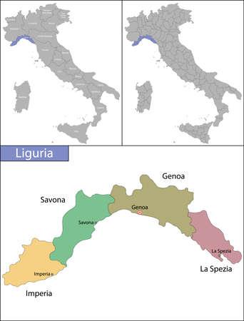 Liguria is a region of northwestern Italy Ilustrace