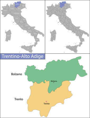 Trentino-Alto Adige is a region in northern Italy Ilustrace