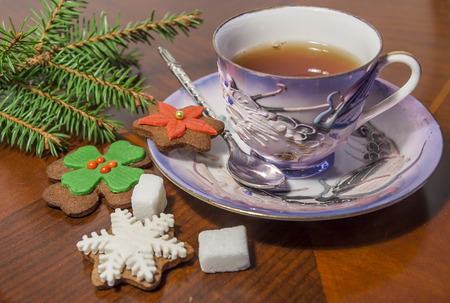 gingerbread cookies: Cup Of Tea And Gingerbread Cookies with sugar and Spruce tree branch
