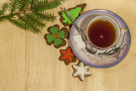 Cup Of Tea And Gingerbread Cookies with sugar and Spruce tree branch photo
