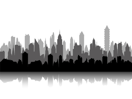 Vector of the multilevel cityscape skyline.