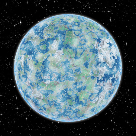 Inhabited planet alien planet in space