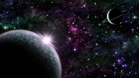 celestial body: Illustration of purple sunrise over planet in space