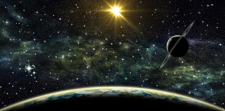 Illustratie van ruimtemening van de planeet