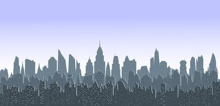 Illustration of gray sityscape at twilight.