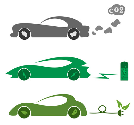 ecologically: Illustration of electric and petrol automobiles.