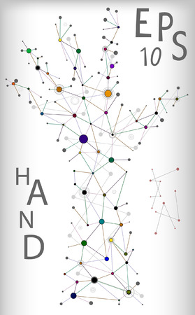 Abstract illustration of molecular hand structure