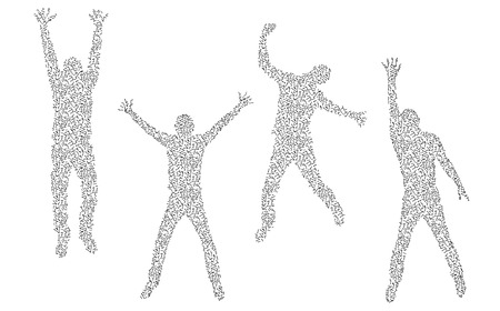 Set of four different silhouettes made of molecules. Illustration