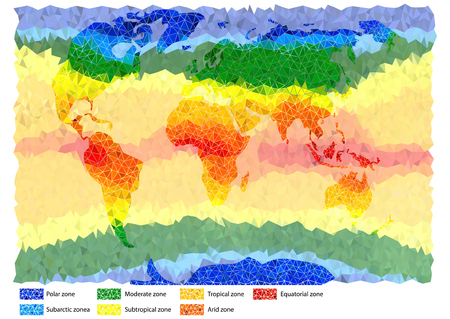 Illustration of climatic zones of world in colored triangles