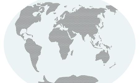 Illustration of world map in triangulars
