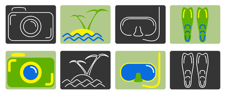 flippers: Set of different relax icons Illustration