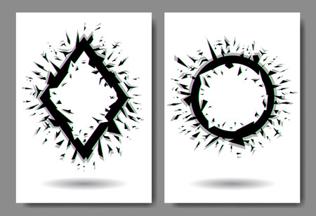 Glitch, splinters effects in circle and rhombus shape Ilustração