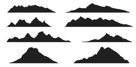 Set of abstract mountains silhouettes on the white background Illusztráció