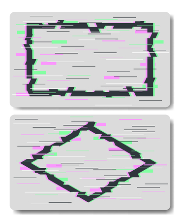 Glitch effects in rectangle and rhombus shape in vector