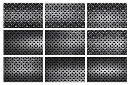 Set di sfondo senza cuciture con fori in acciaio inossidabile sfumato, sembra una grattugia o un colino Vettoriali