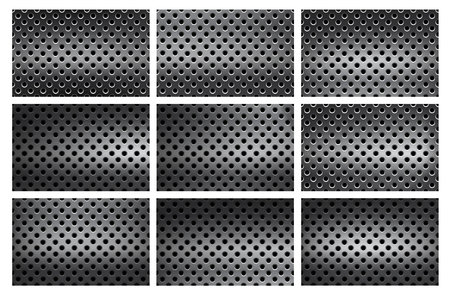 Set of seamless, pattern background with holes in stainless steel gradient, look like a grater or strainer Vektorové ilustrace