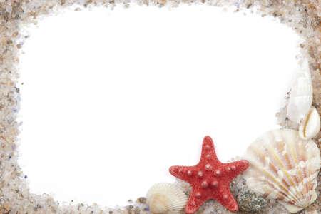 seashells: photo frame with shells and sea salt