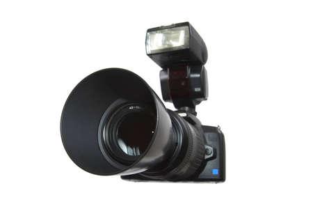 telephoto: The digital camera on a white background