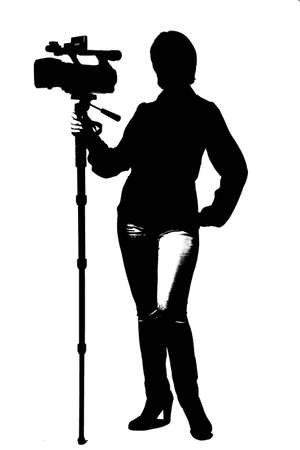 filmmaker: silhouette of woman with a camera Stock Photo