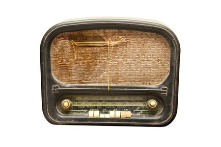 very old and smashed the radio on a white background Stock Photo - 17299050