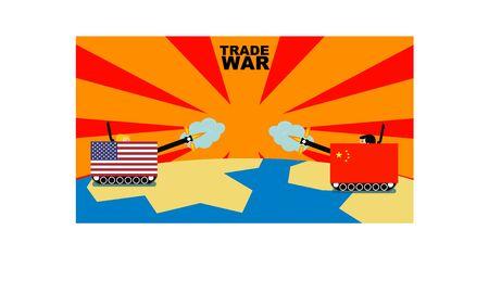 trade war concept usa vs china