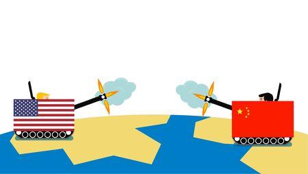 isolated trade war concept usa vs china Иллюстрация