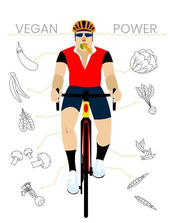 Vegan Cyclist with Vegetables. Flat Design Vectoral Illustration