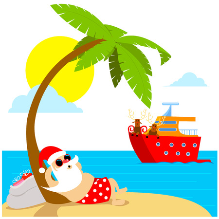 Christmas holiday. Santa Claus relax on the beach. Deers on the Yatch. Greeting Christmas card 2019 Vettoriali