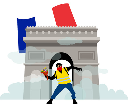 People in yellow vests with Flower. In front of Arc De Triomphe. Flat design, vector illustration. Demonstration of yellow vests against a new increase in taxes imposed by the French government. Ilustrace