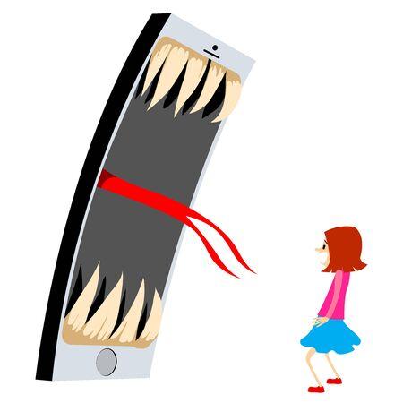 Téléphone Effrayer La Femme. Illustration Vectorielle Isolée Sur Fond Blanc