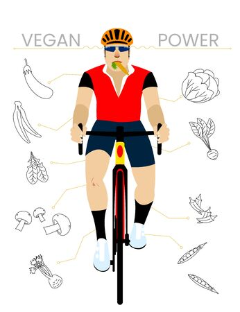 Bearded Vegan Cyclist with Vegetables. Flat Design Vectoral Illustration