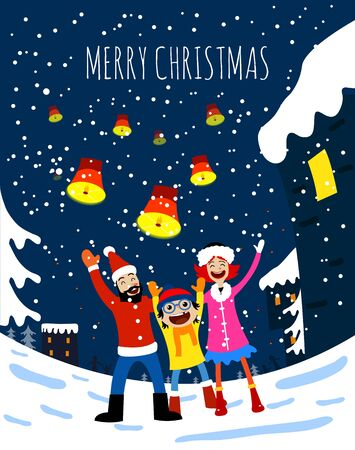 merry christmas happy family card. Vector illustration of St Claus deers, cute houses, snow.