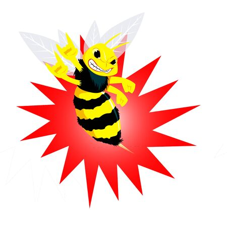 Angry Bee Vector Illustration.