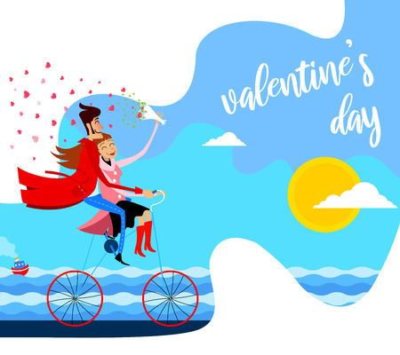 vector illustration of a couple on a bicycle at the seaside. greeting card for Valentine's Day in a cartoon style - Vector Illustration